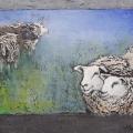 Materie schilderij met schapen 50 x 70 cm