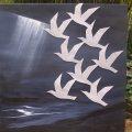 Schilderij 100 x 100 cm, plaat aluminium vogels tegen acrylverf schilderij.