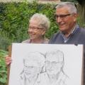 Geposeerd voor portret houtskool tekening